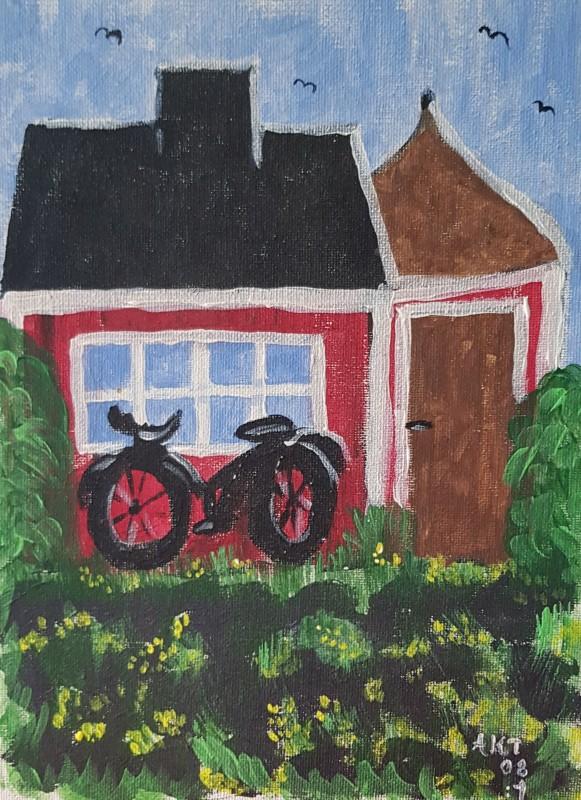 Cykeln. Cykel,Stuga,Röd