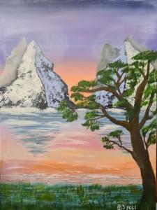Solnedgång,Bergspass,Vattenspegling
