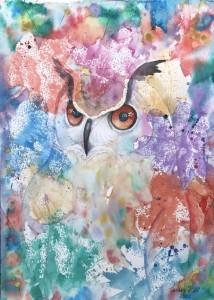 fåglar,berguv,akvarell