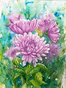 akvarell,blommor,målningen