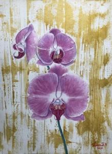 blommor,orchidé,akvarell