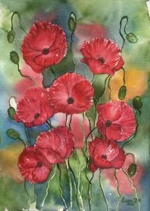 vallmor,blommor,akvarell